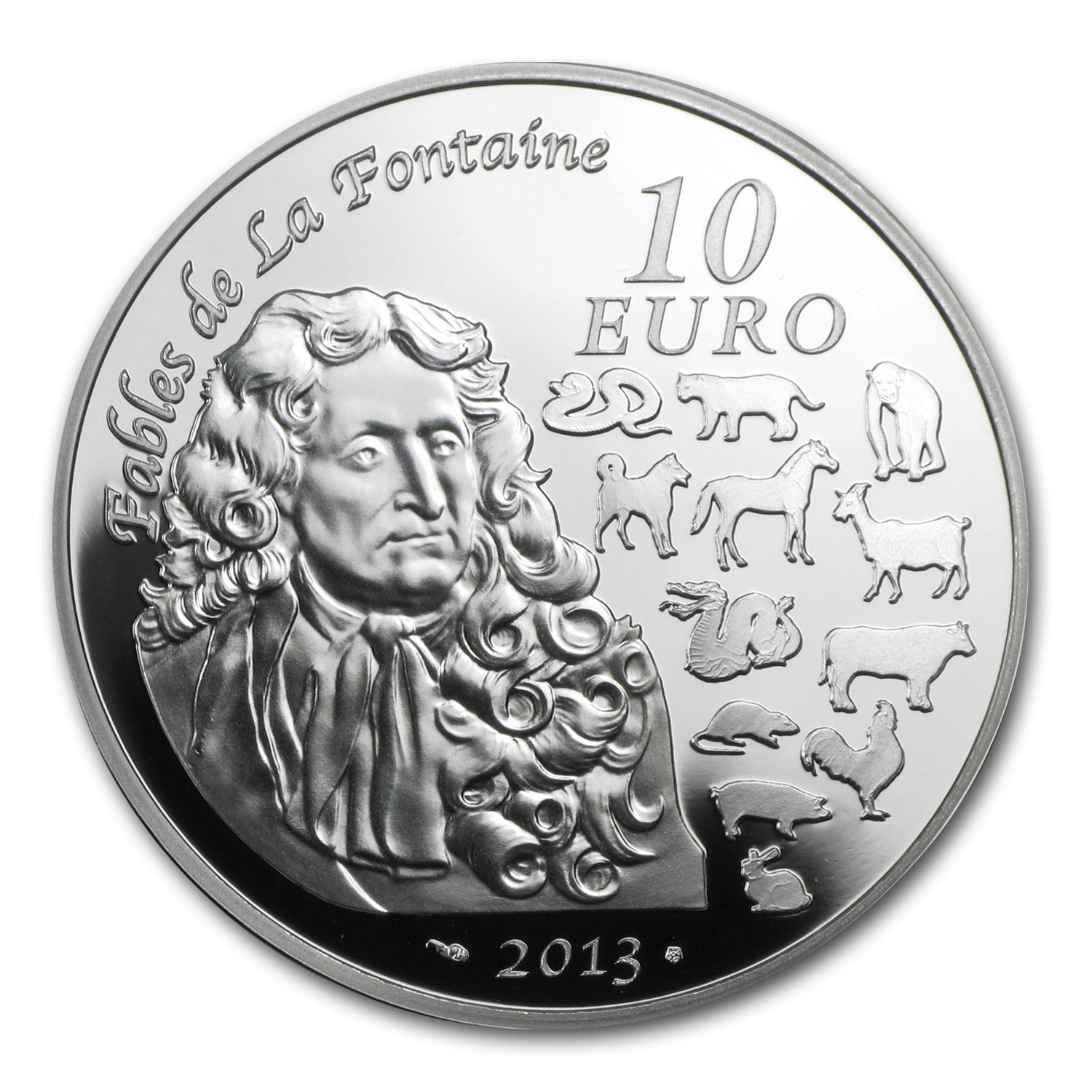 2013 Silver France €10 Year of the Snake Proof (Lunar Series)