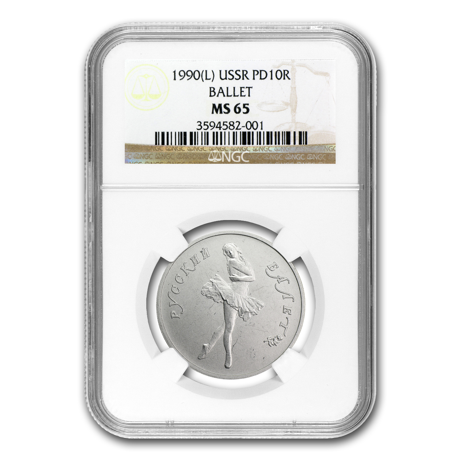 1990 1/2 oz Russian Palladium Ballerina (MS-65 NGC)