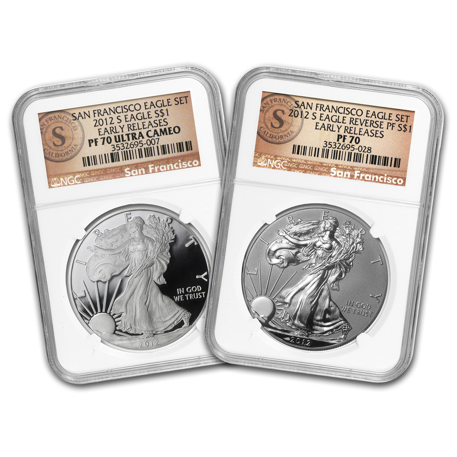2012-S 2-Coin Prf Silver Eagle Set PF-70 NGC (ER/FR, 75th Anniv)
