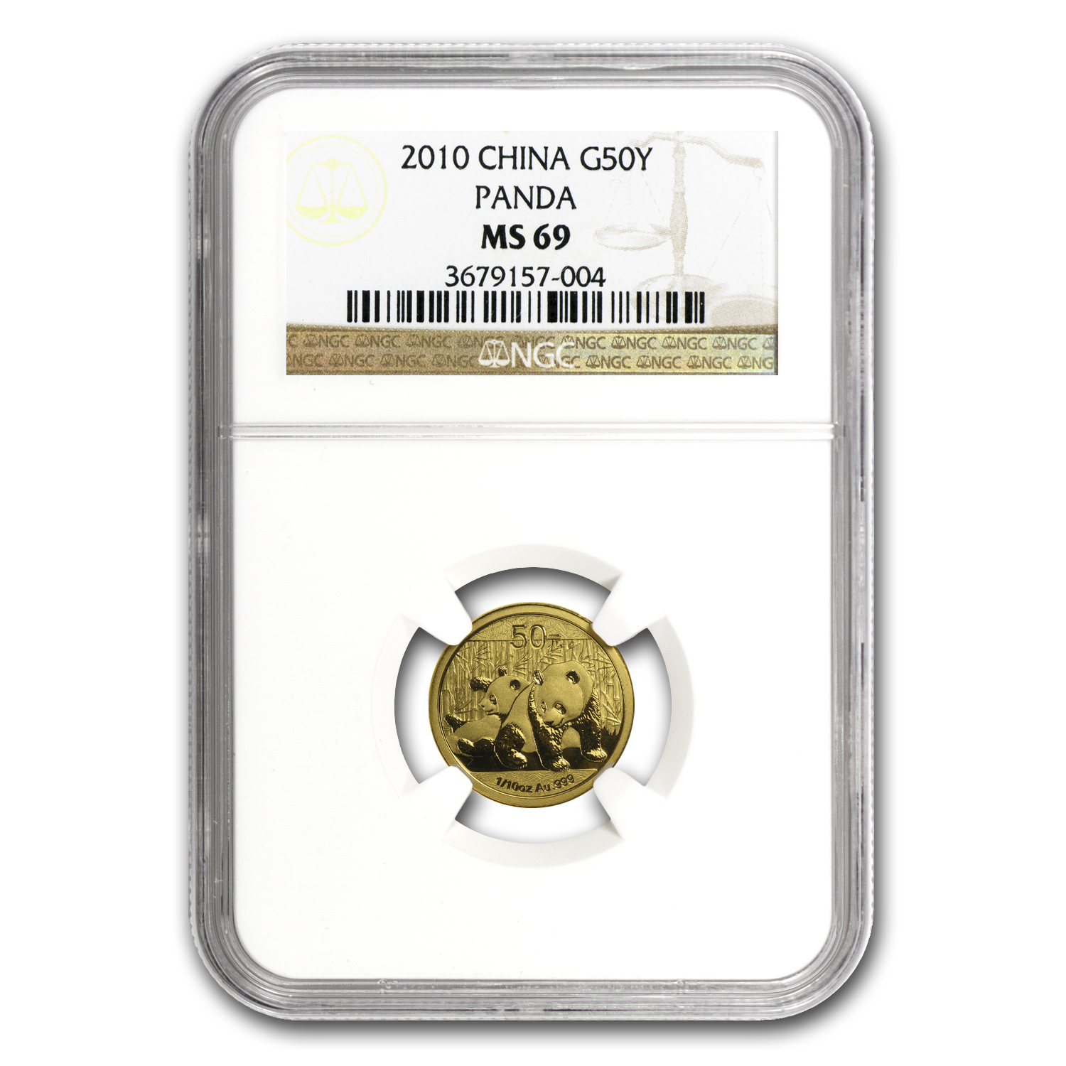 2010 China 1/10 oz Gold Panda MS-69 NGC