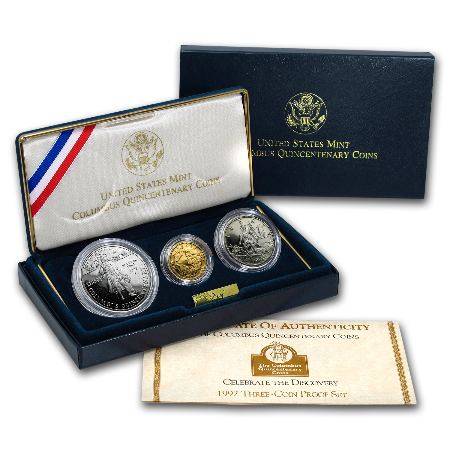 1992 3-Coin Commem Columbus Quincentenary Prf Set (w/Box & COA)