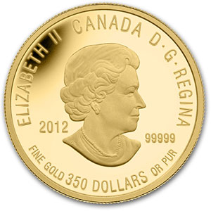2012 1.12 oz .99999 Gold Canadian $350 - Sir Isaac Brock