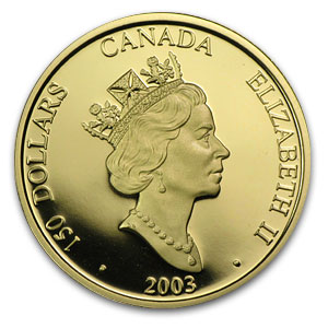 2003 Gold Canadian $150 Lunar Sheep (Hologram, w/Box & COA)