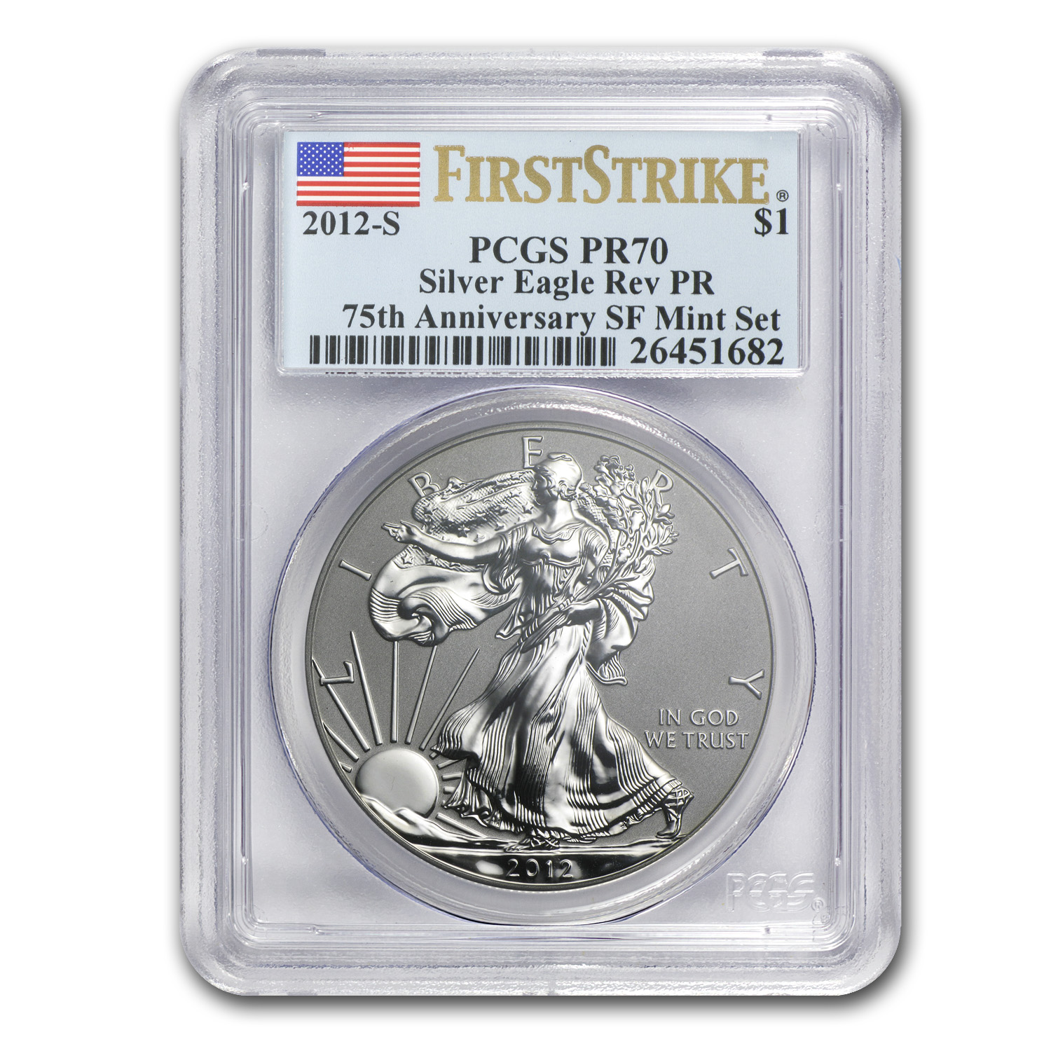 2012-S (Reverse Proof) Silver Eagle PR-70 PCGS First Strike