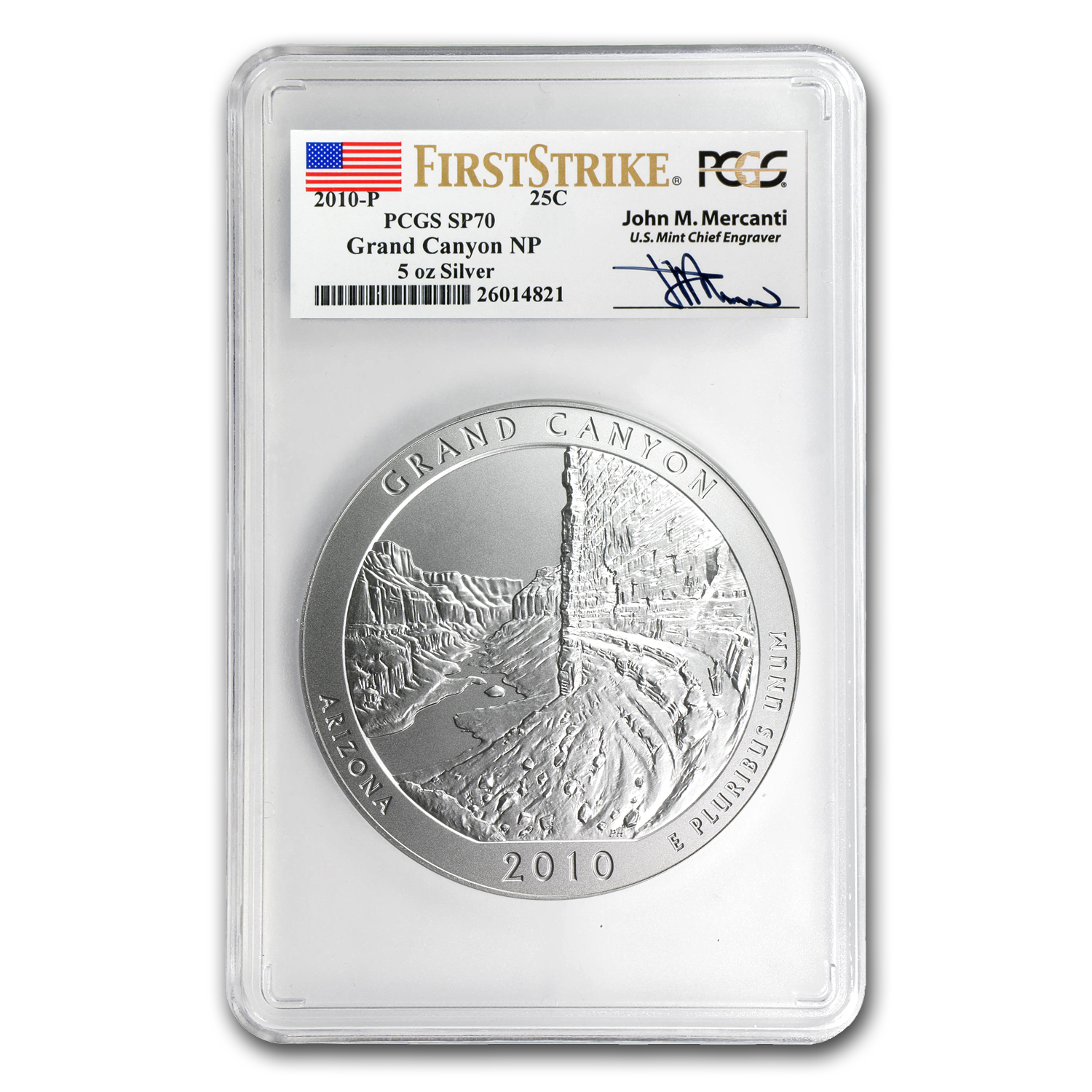 2010-P 5 oz Silver ATB Grand Canyon SP-70 PCGS (FS, Mercanti)
