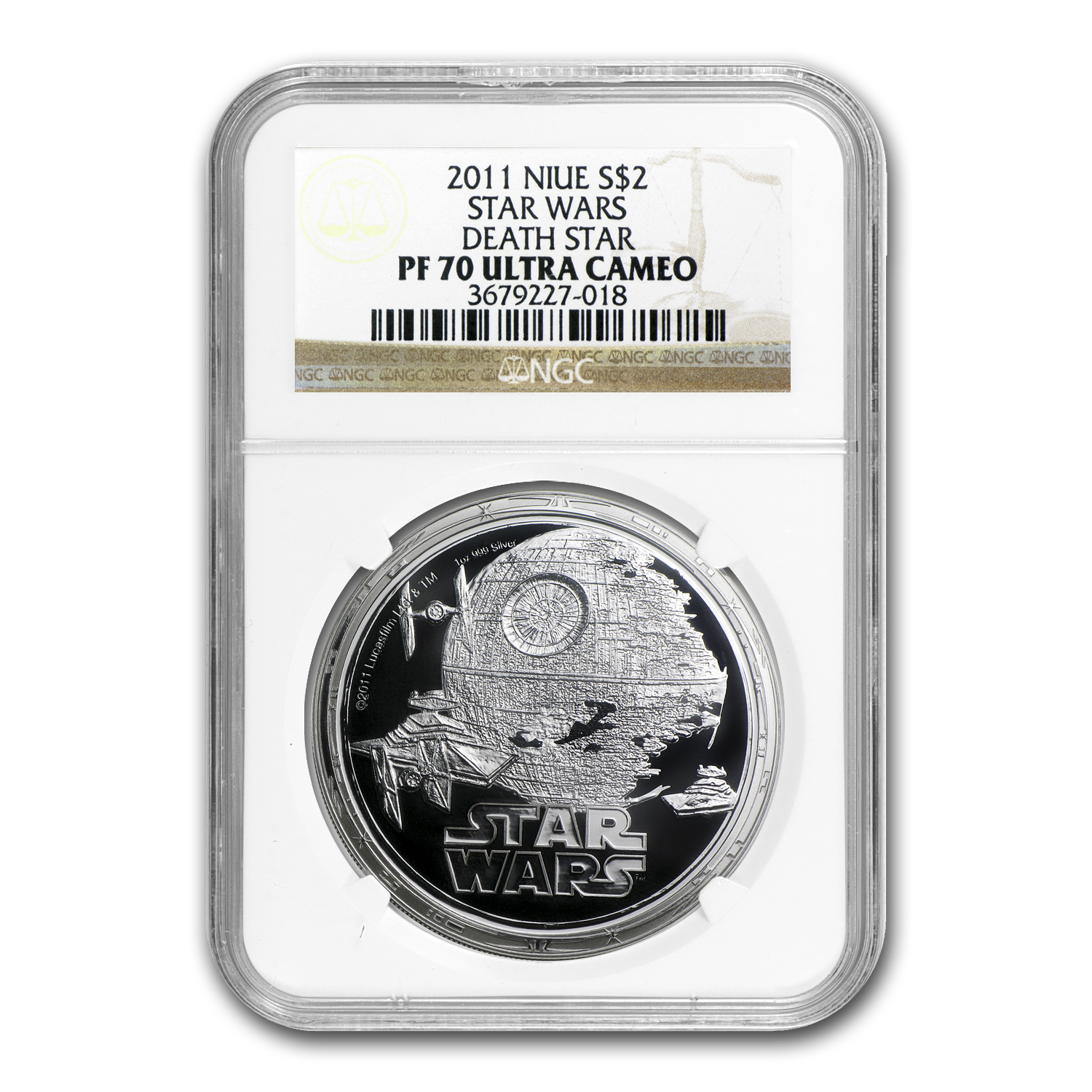 2011 Niue 1 oz Silver $2 Star Wars Death Star PF-70 NGC