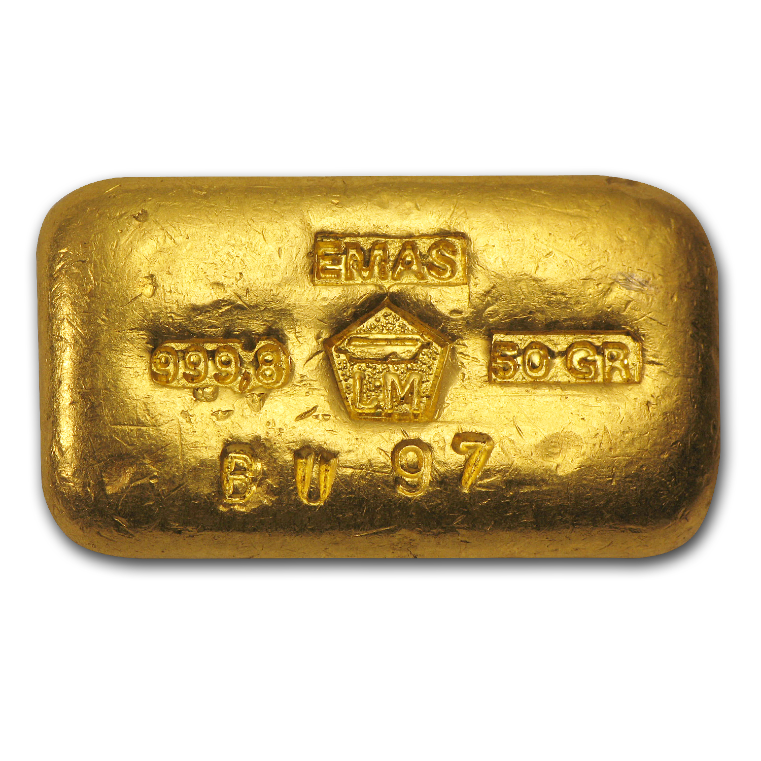 50 gram Gold Bars - Logam Mulia (Poured/Loaf-Style)