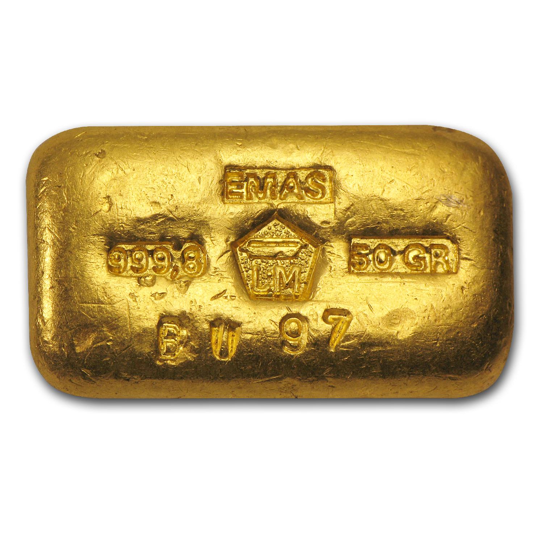 50 gram gold bar  loaf
