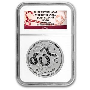 2013 Australia 2 oz Silver Year of the Snake MS-70 NGC (ER)