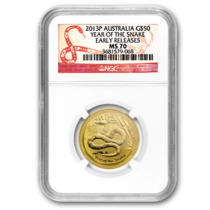 2013 1/2 oz Gold Lunar Year of the Snake MS-70 NGC (SII, ER)