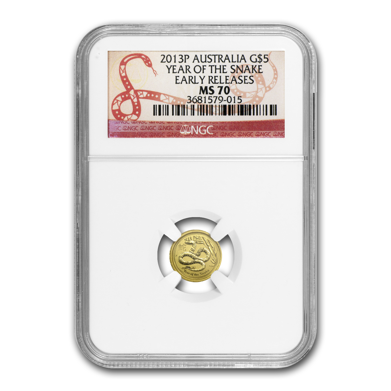 2013 1/20 oz Gold Lunar Year of the Snake MS-70 NGC (SII, ER)