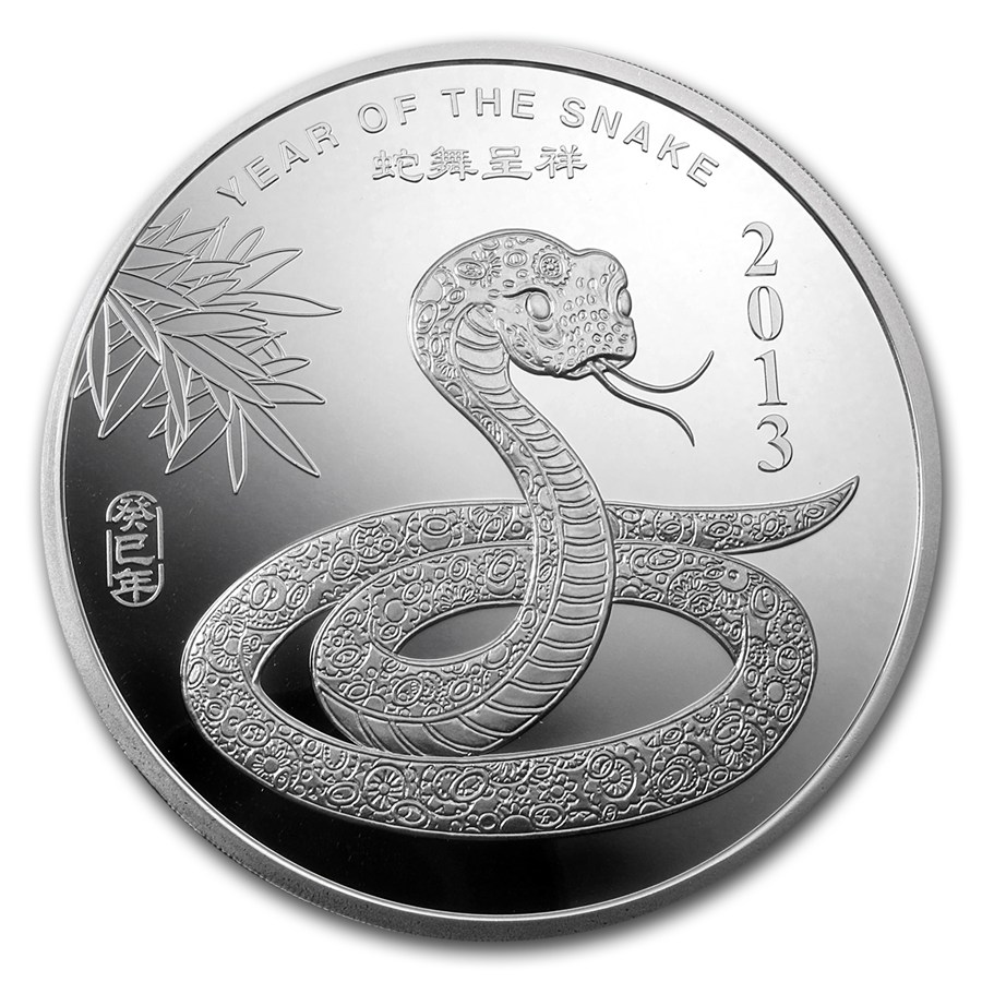 10 Oz Silver Round Apmex 2013 Year Of The Snake 10