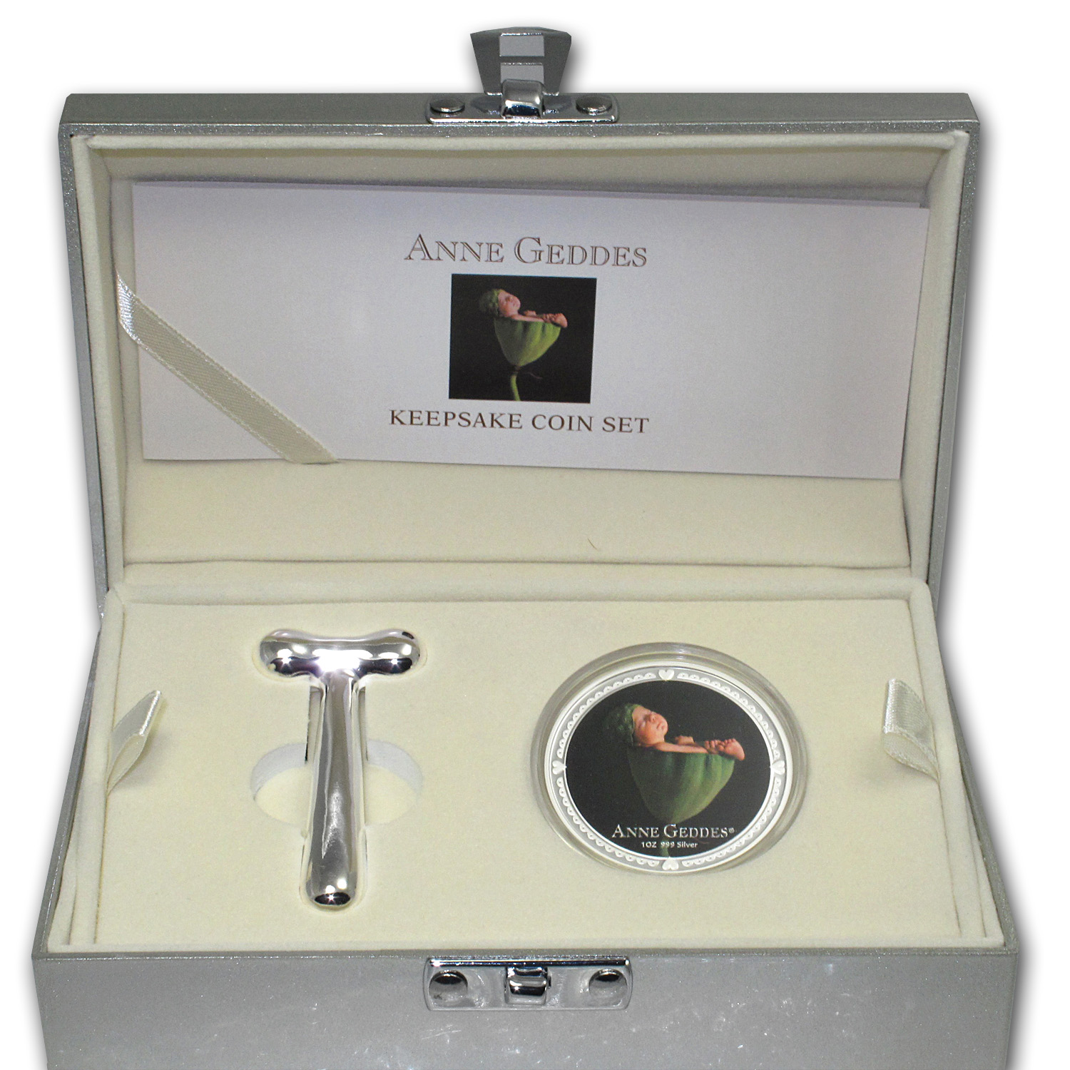 2012 Niue 1 oz Silver $2 Anne Geddes Coin & Rattle in Tool Box