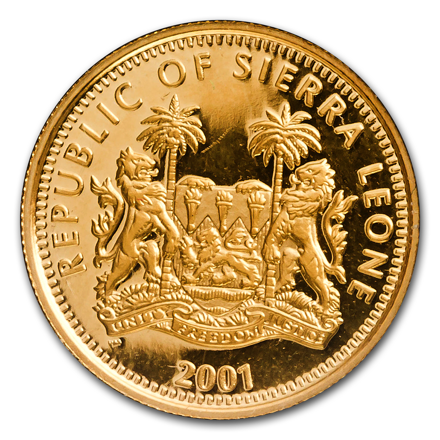Sierra Leone Gold $25 Big Cats Proof (AGW 0.10)