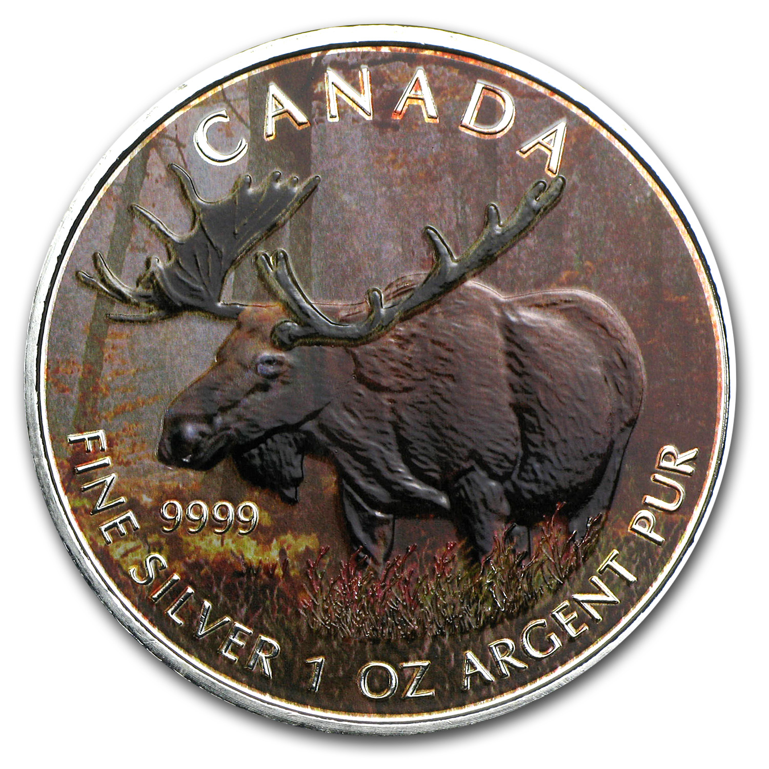 2012 1 oz Silver Canadian Wildlife Series Moose (Full Colour)
