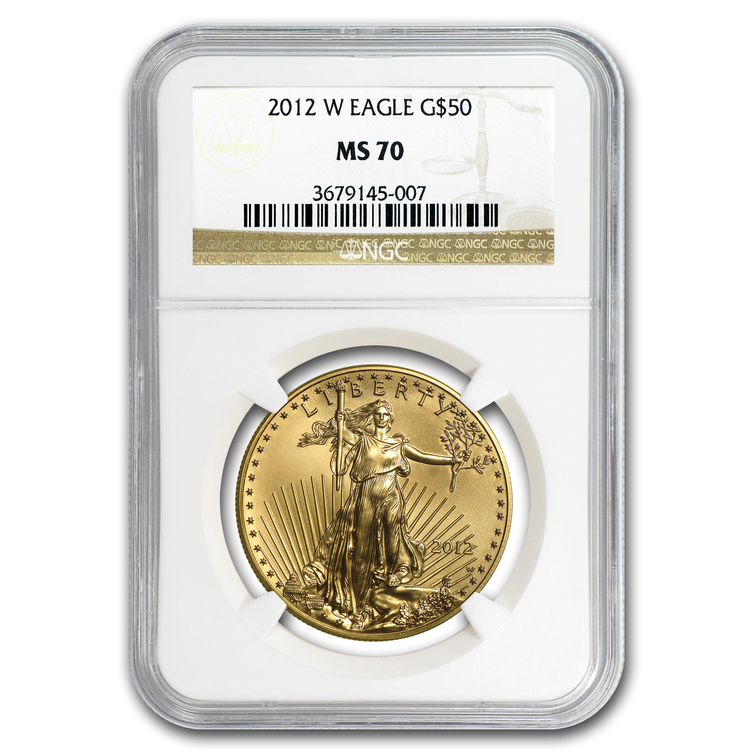 2012-W 1 oz Burnished Gold Eagle MS-70 NGC