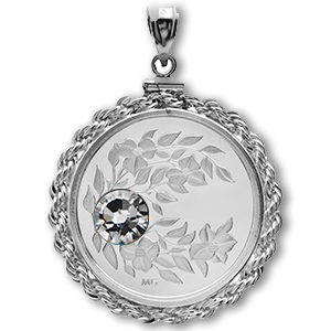 2012 1/4 oz Silver April Birthstone Pendant(Rope Edge Bezel)