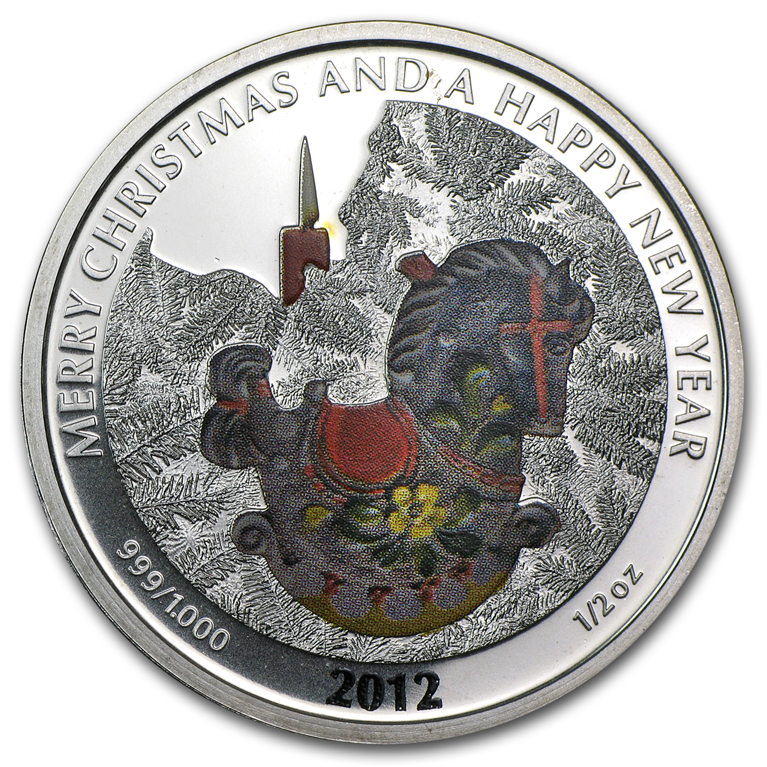 2012 Liberia 1/2 oz Silver $2 Christmas Horse (Colorized)