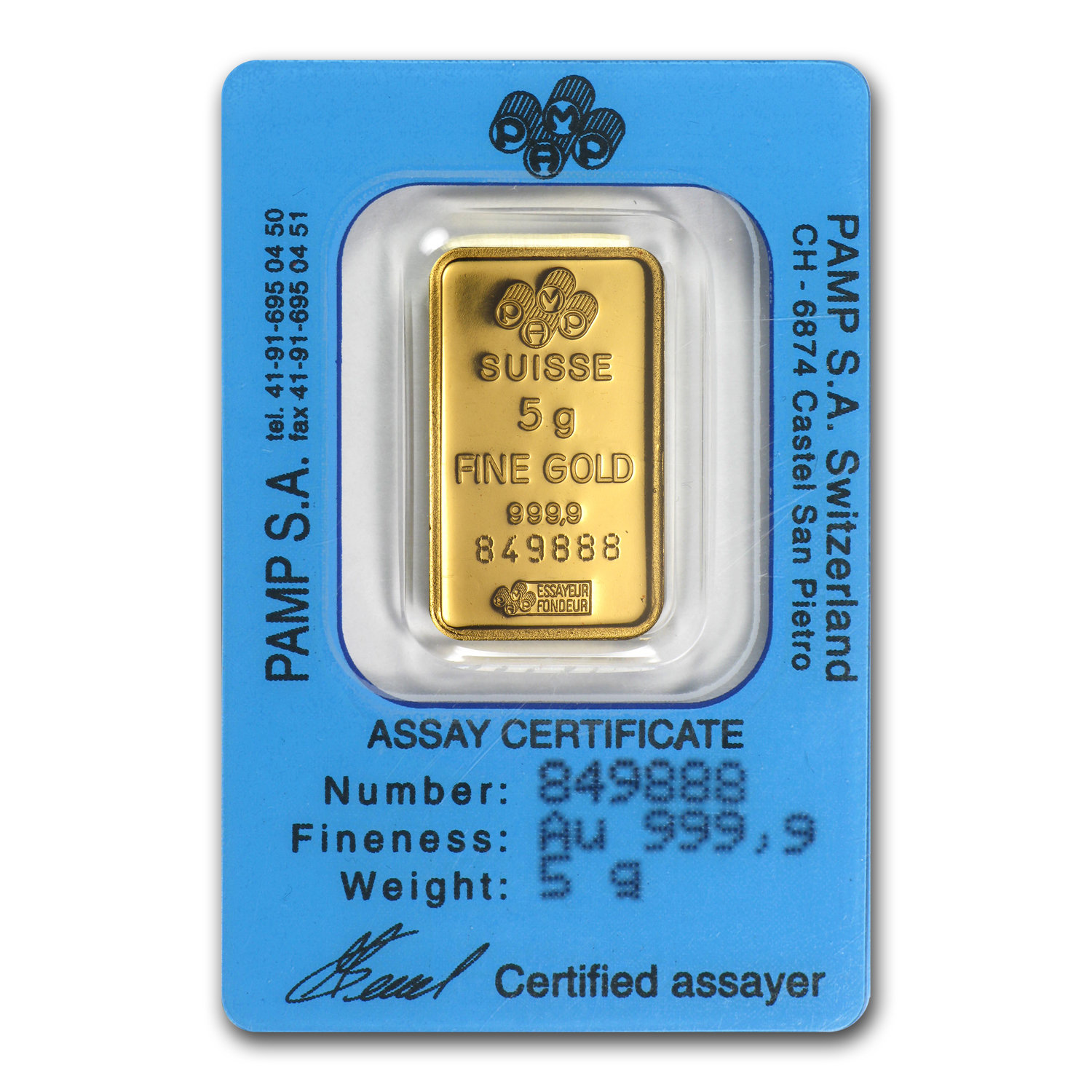 5 gram Gold Bar - Pamp Suisse (Rose, Gold Dream, in Assay)
