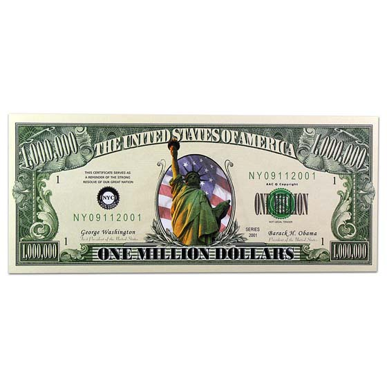 Novelty $1,000,000 Bills - Liberty