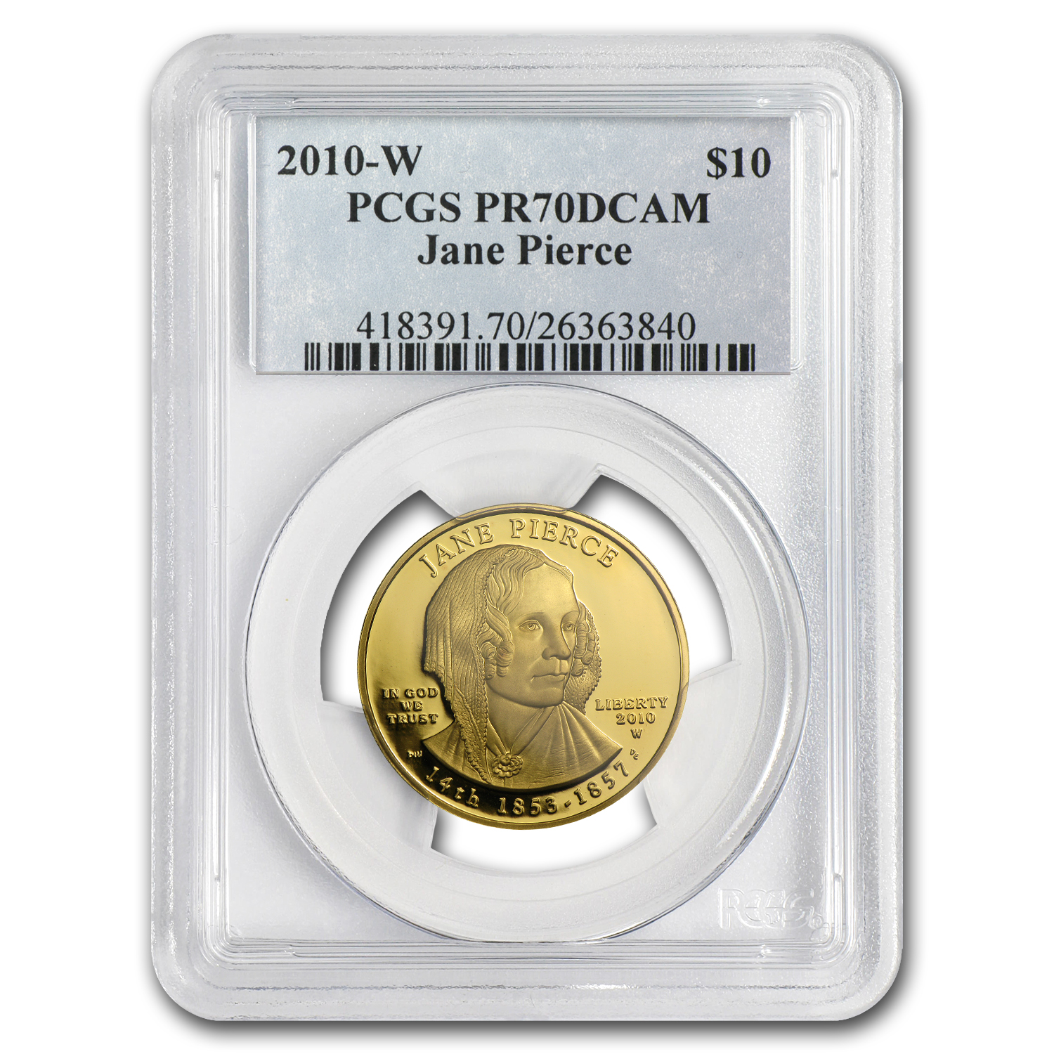 2010-W 1/2 oz Proof Gold Jane Pierce PR-70 PCGS