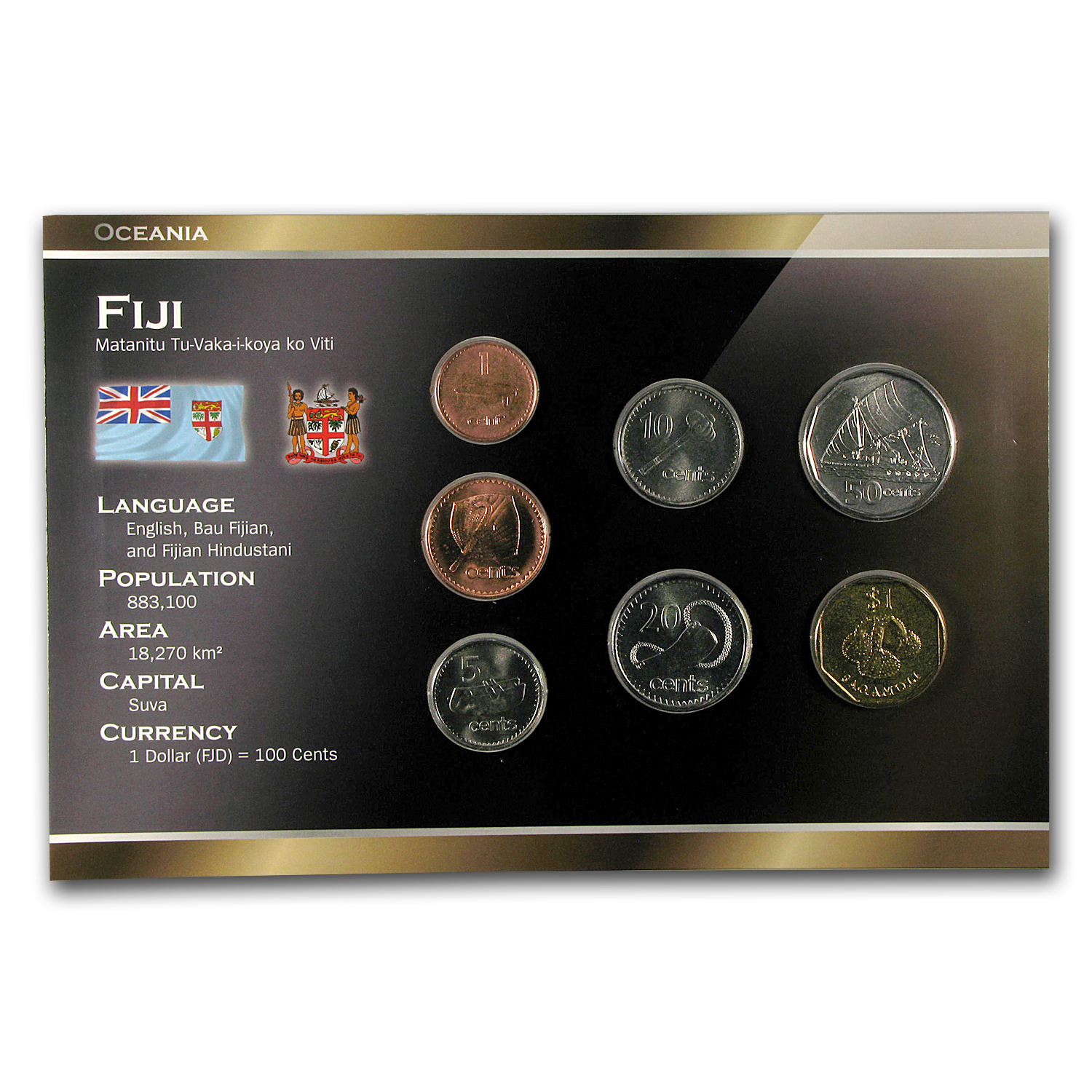 1995-2009 Fiji 1 Cent-1 Dollar Coin Set BU