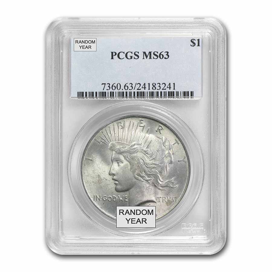 1922-1925 Peace Silver Dollars - MS-63 PCGS