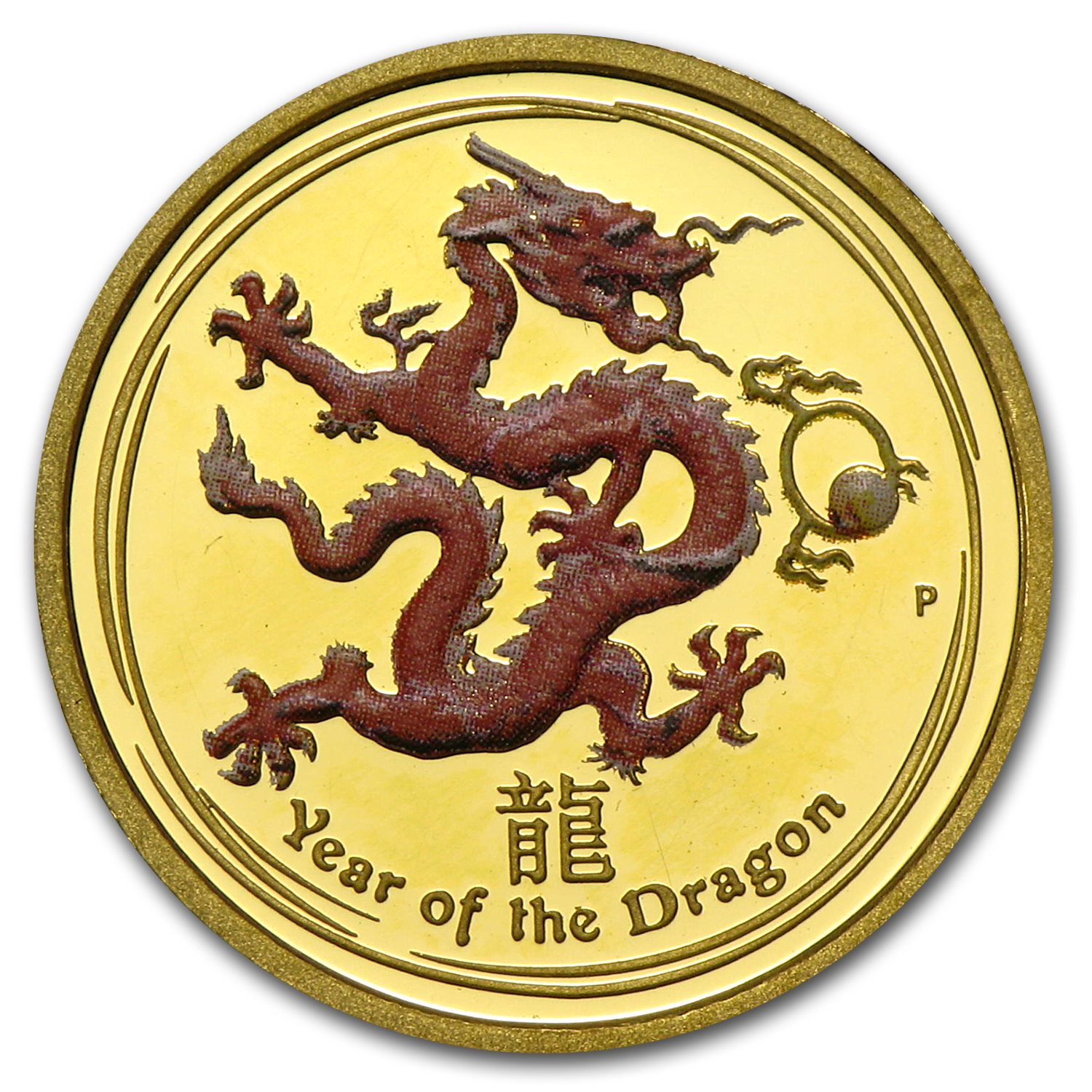 2012 Gold 1/10 oz Lunar Year of the Dragon Prf (SII, Colorized)