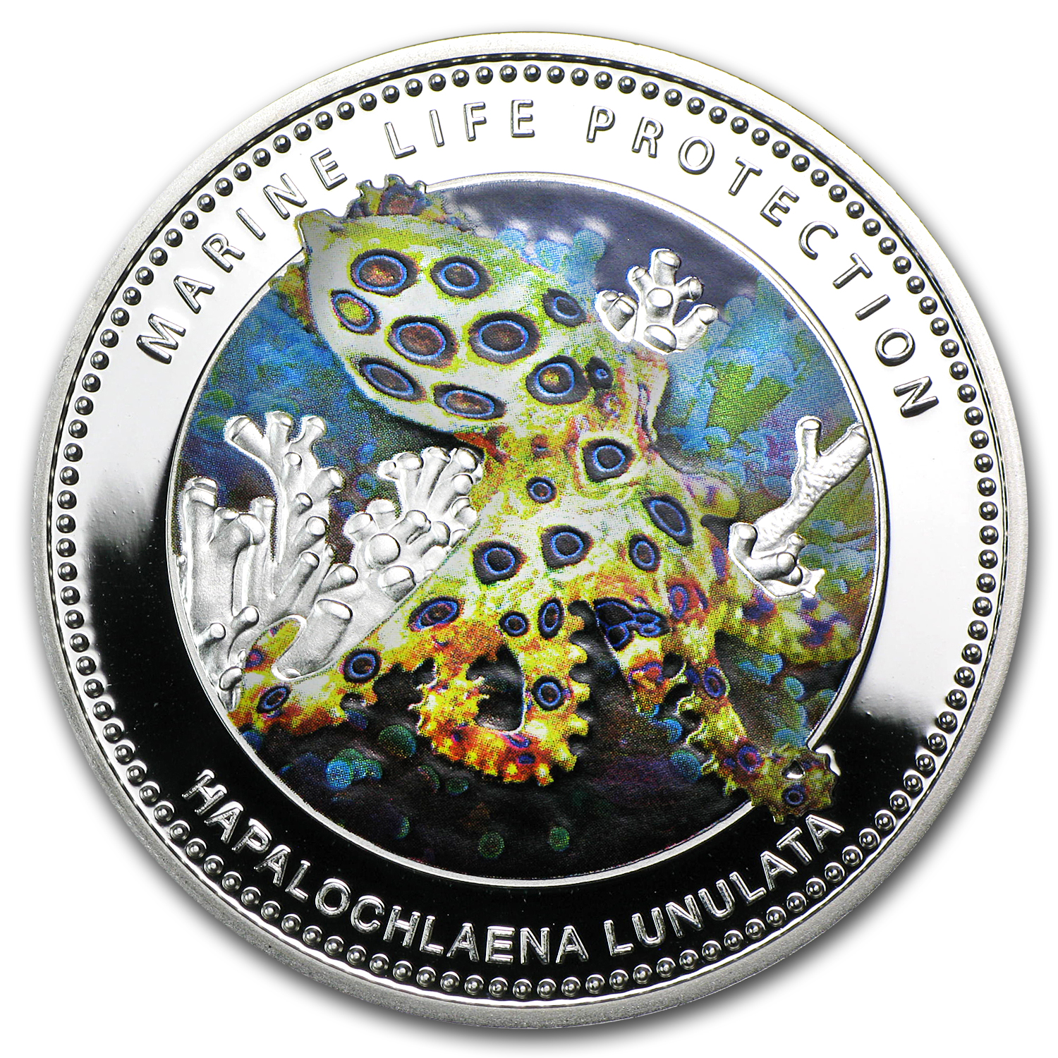 2012 Palau Silver $5 Marine Life Protection Blue Ringed Octopus