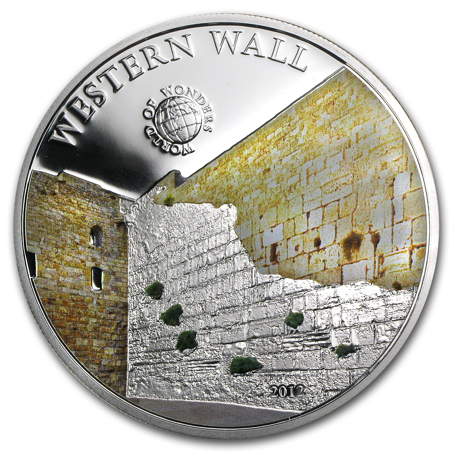 2012 Palau Proof Silver $5 World of Wonders Western Wall