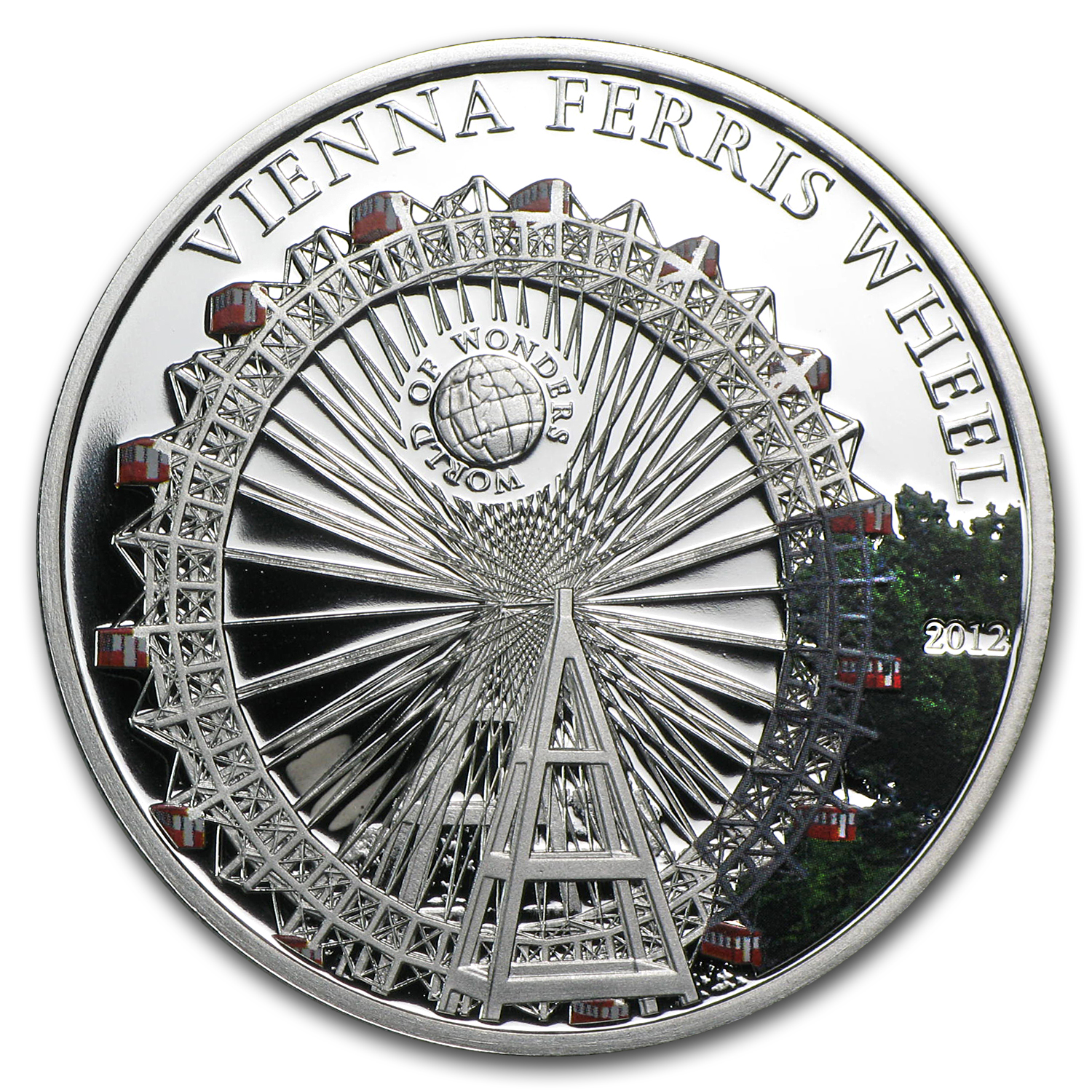 2012 Palau Proof Silver $5 World of Wonders Vienna Ferris Wheel
