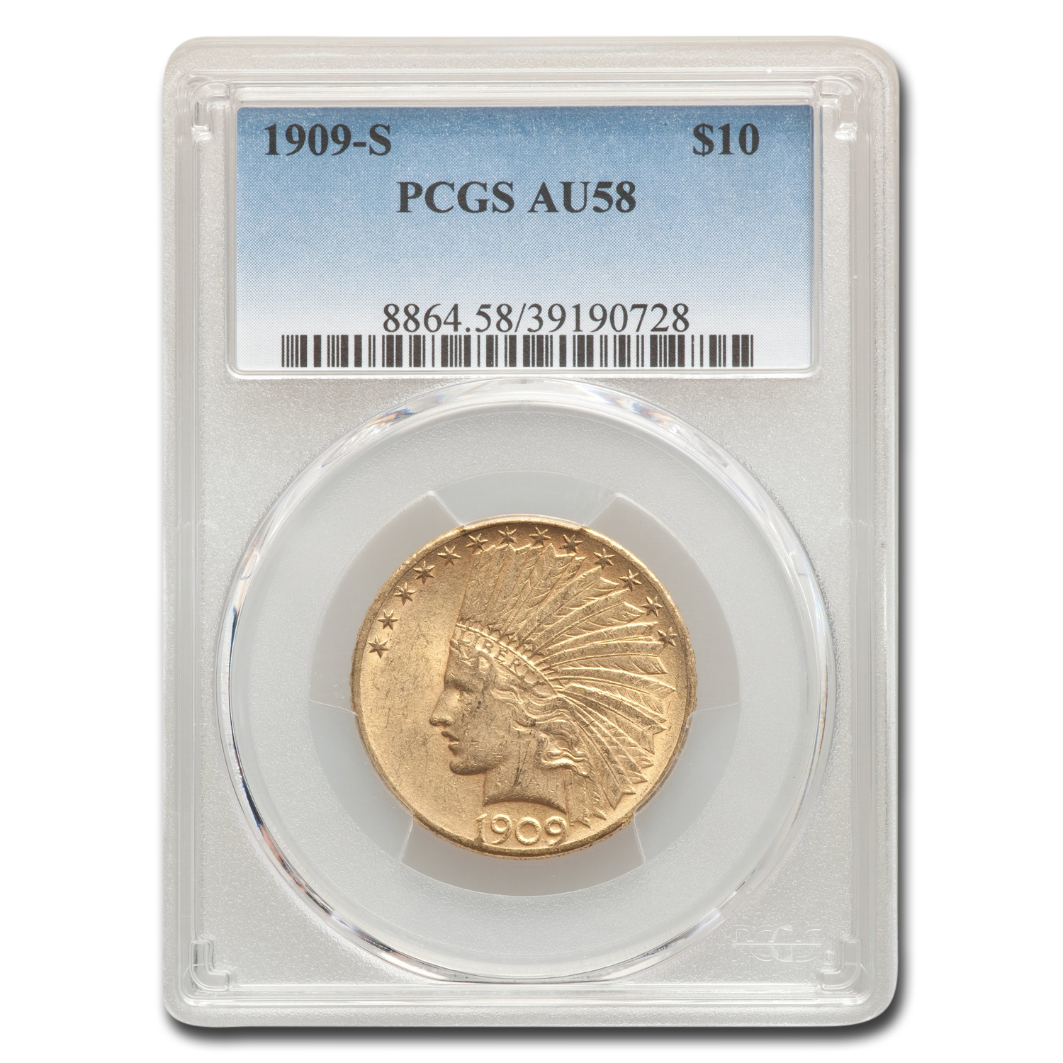 1909-S $10 Indian Gold Eagle AU-58 PCGS