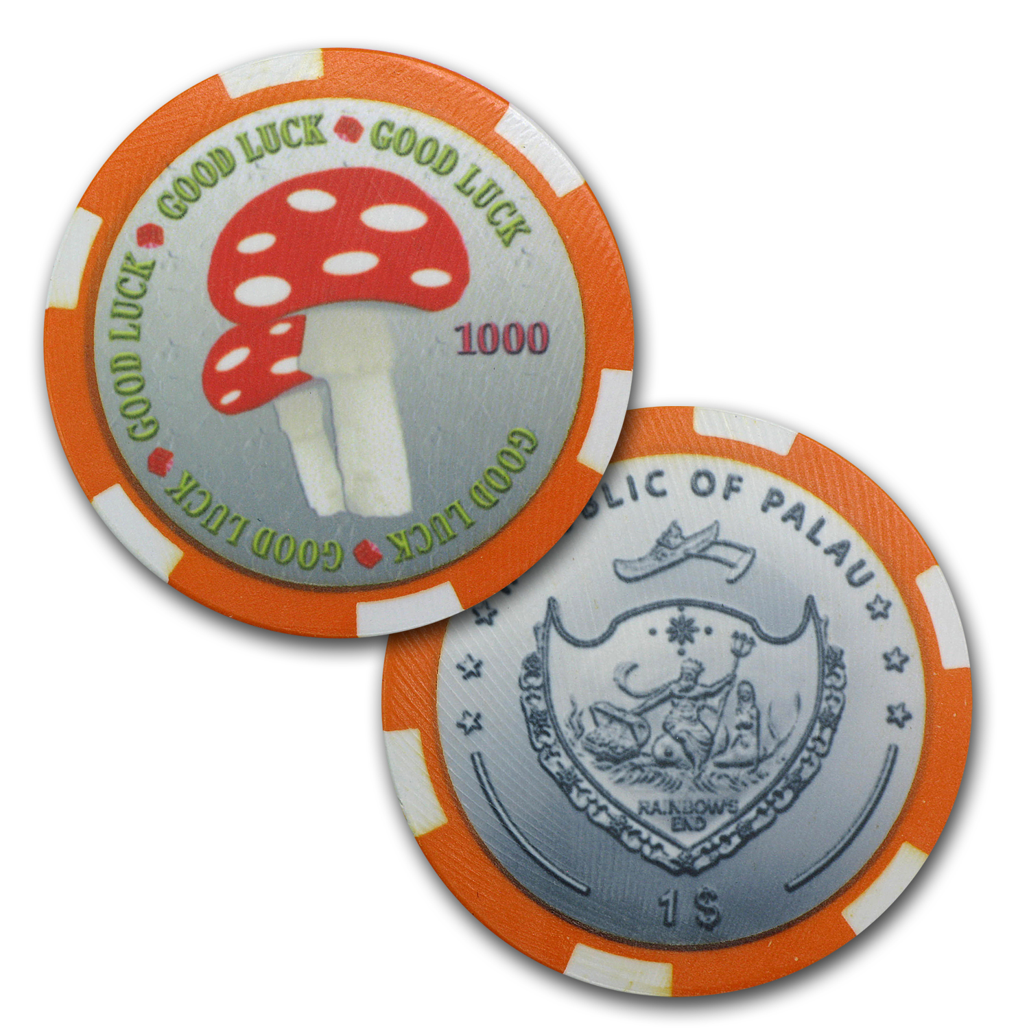 Palau $1 Good Luck Casino Coin Set - 9 Lucky Coins