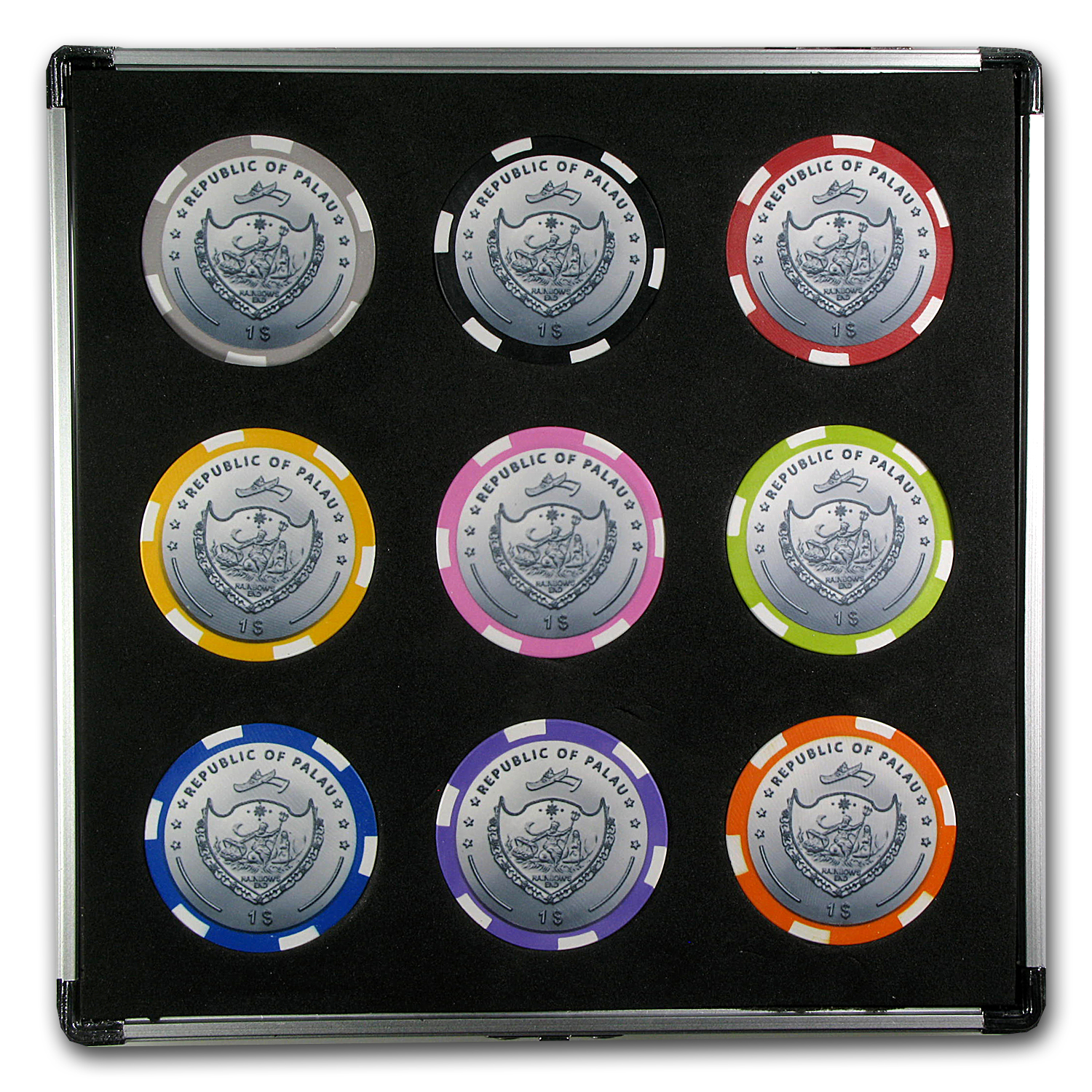Palau 9-Lucky Coin $1 Good Luck Casino Set
