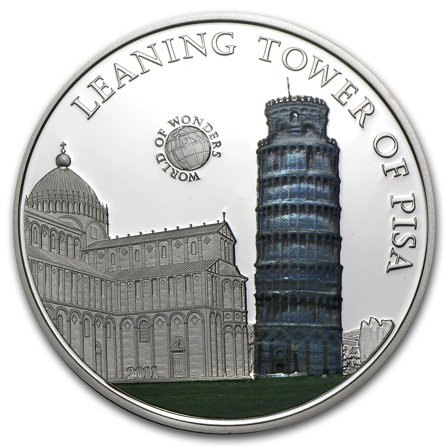 2011 Palau Proof Silver $5 World of Wonders Leaning Tower of Pisa