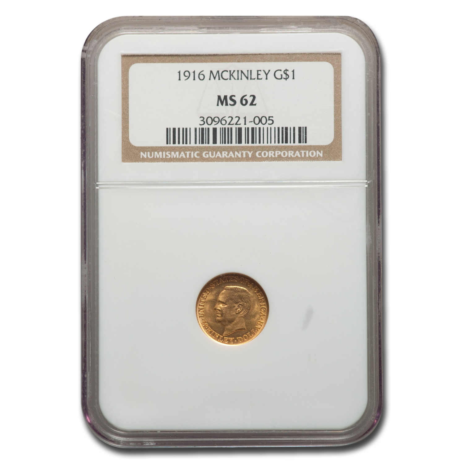 1916 Gold $1.00 McKinley Memorial MS-62 NGC