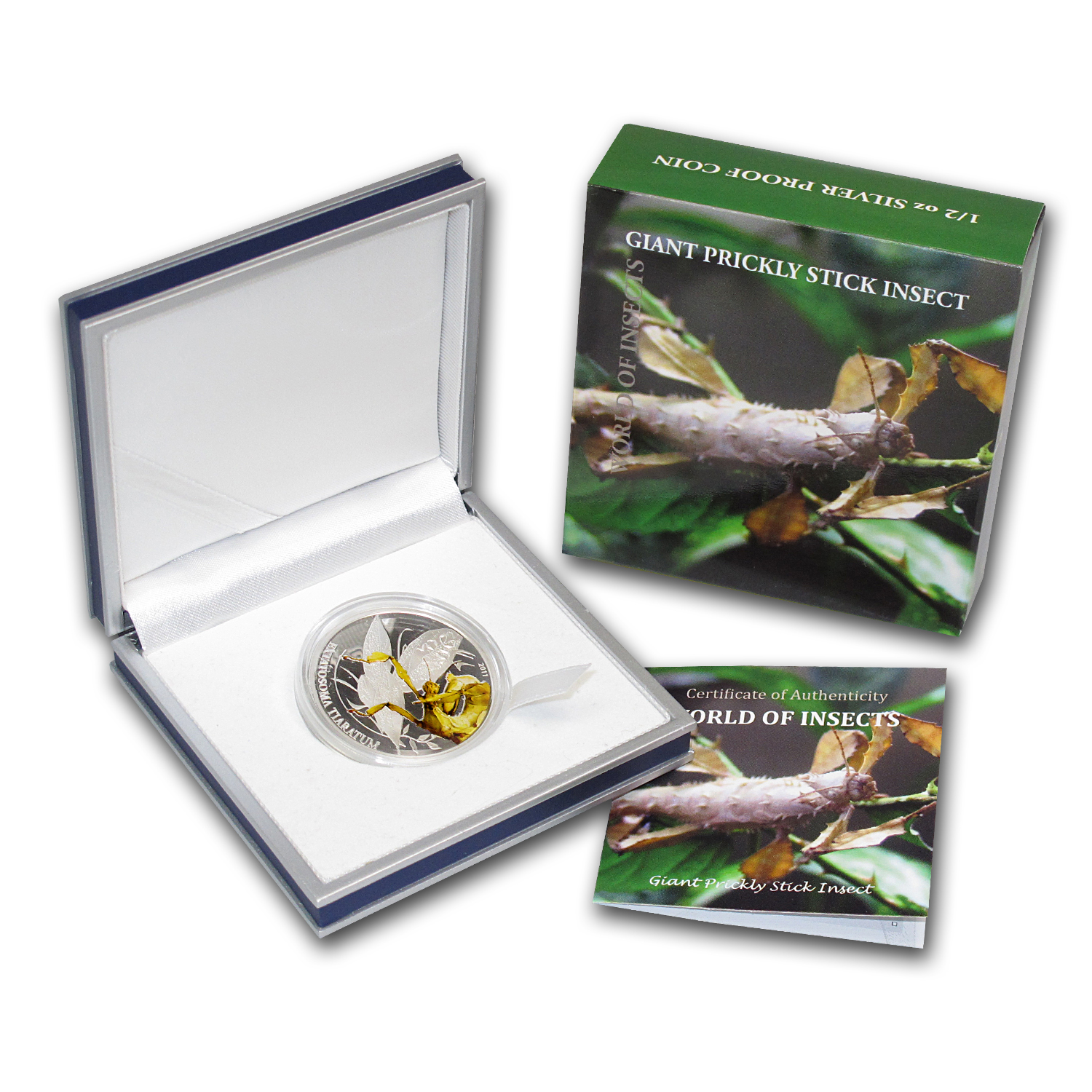 Palau 2011 Silver Proof $2 World of Insects -Walking Leaf (Stick)