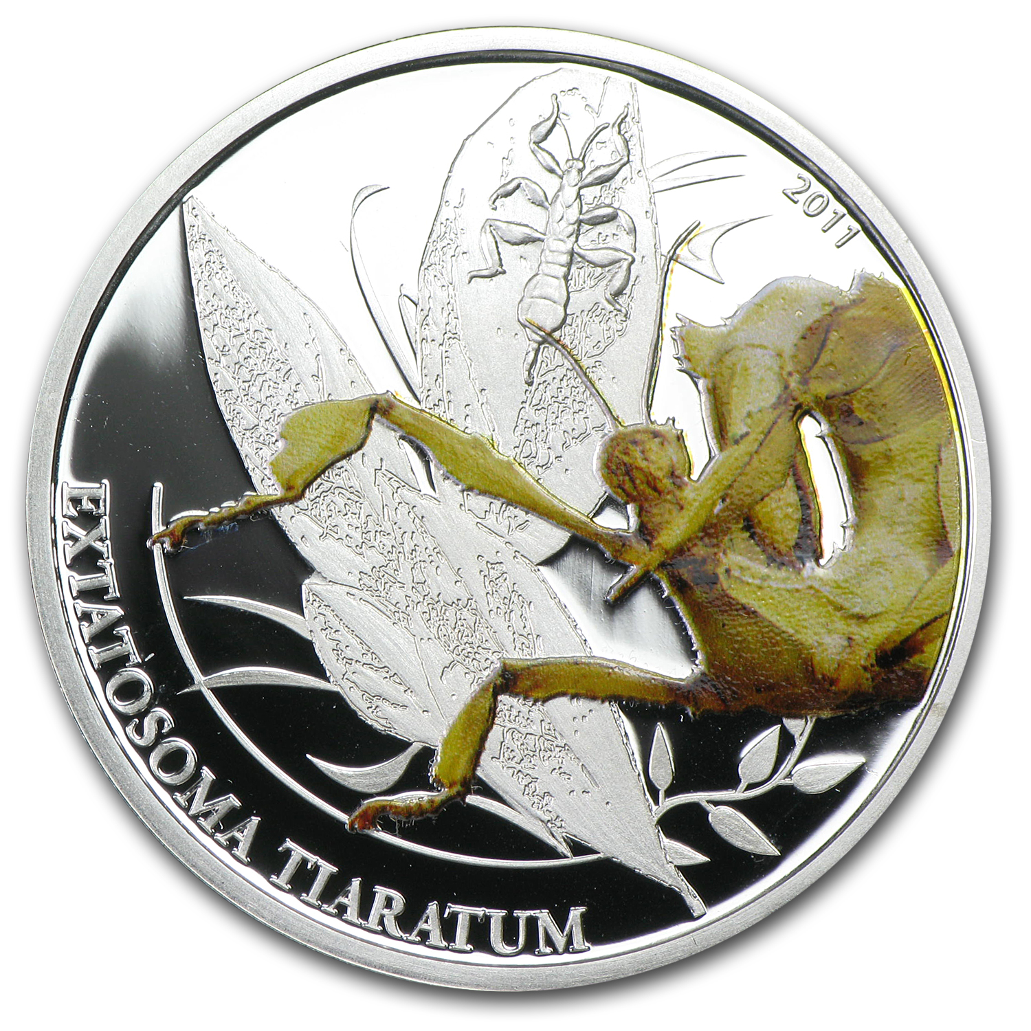 2011 Palau Proof Silver $2 World of Insects Walking Leaf (Stick)