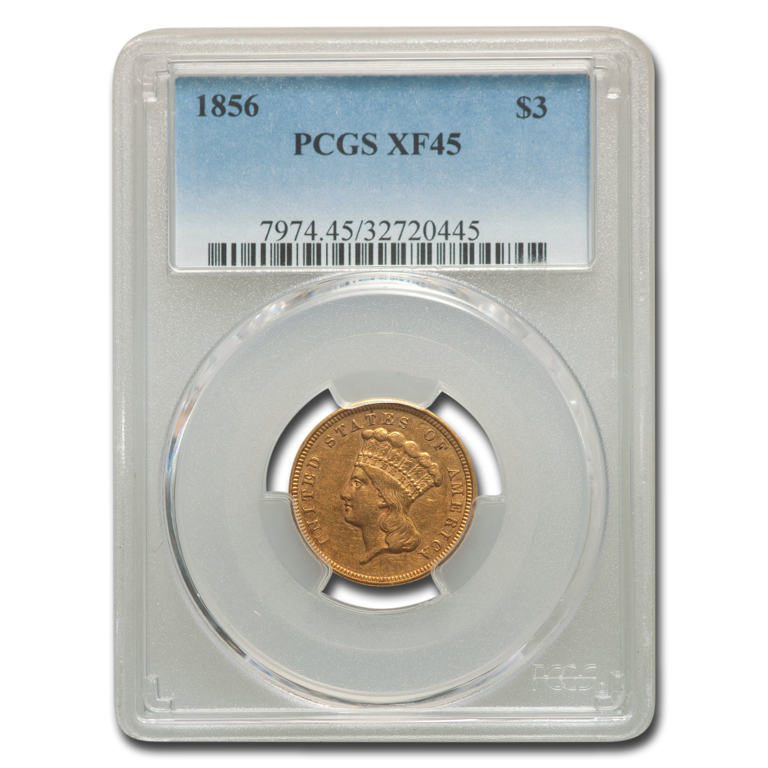 1856 $3 Gold Princess - XF-45 PCGS