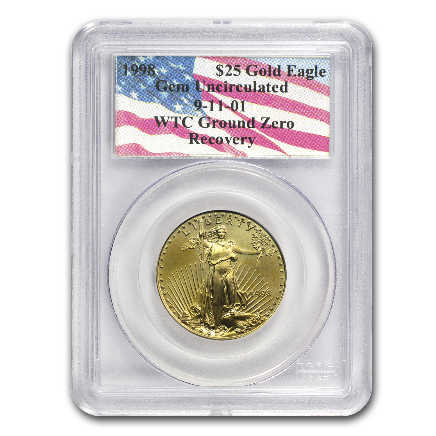 1998 1/2 oz Gold American Eagle Gem Unc PCGS (World Trade Center)