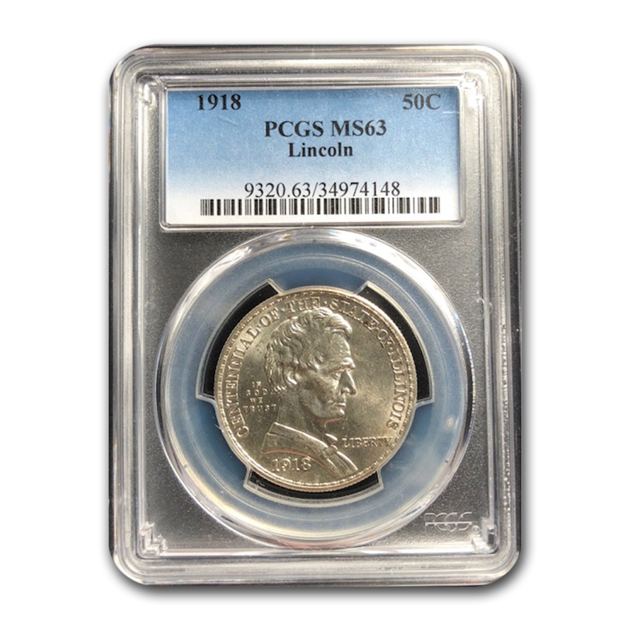 1918 Lincoln Illinois Centennial Half Dollar MS-63 PCGS