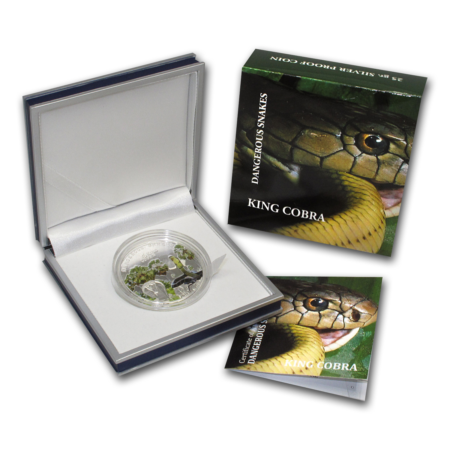 2011 Cook Islands Proof Silver $5 Dangerous Snakes King Cobra