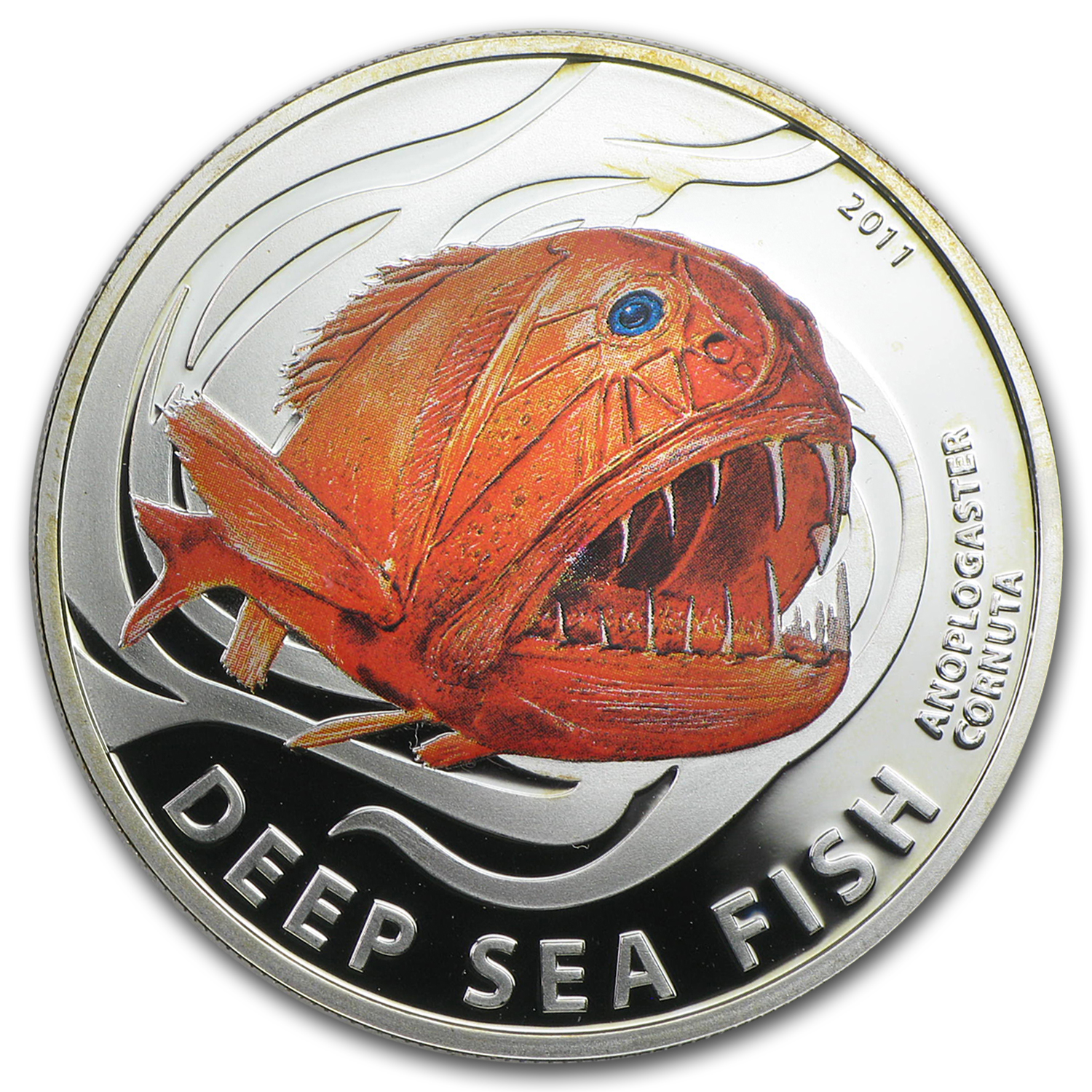 2011 Pitcairn Islands Silver Deep Sea Fish Anoplogaster Cornuta