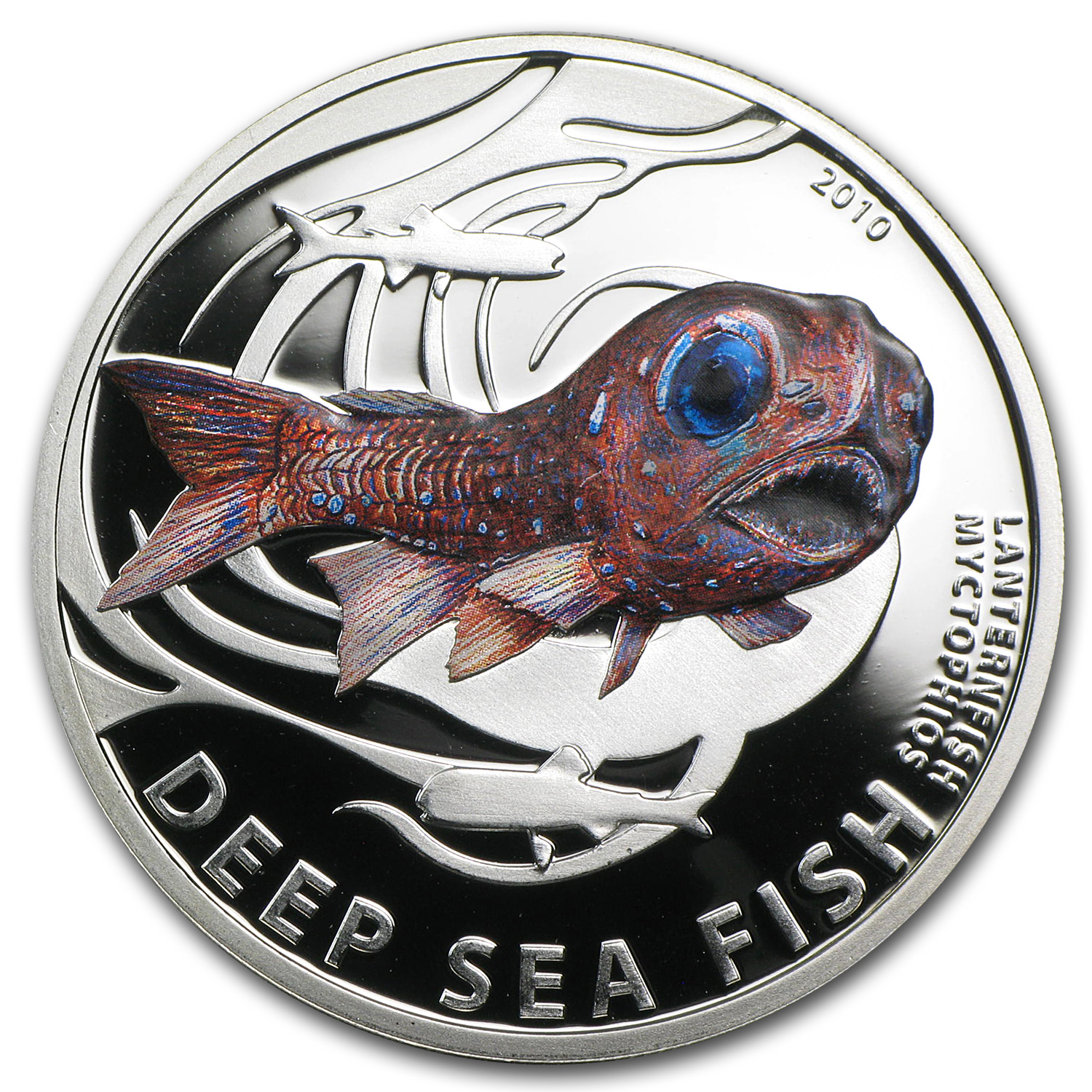 2010 Pitcairn Islands Silver Proof Deep Sea Fish Lanternfish