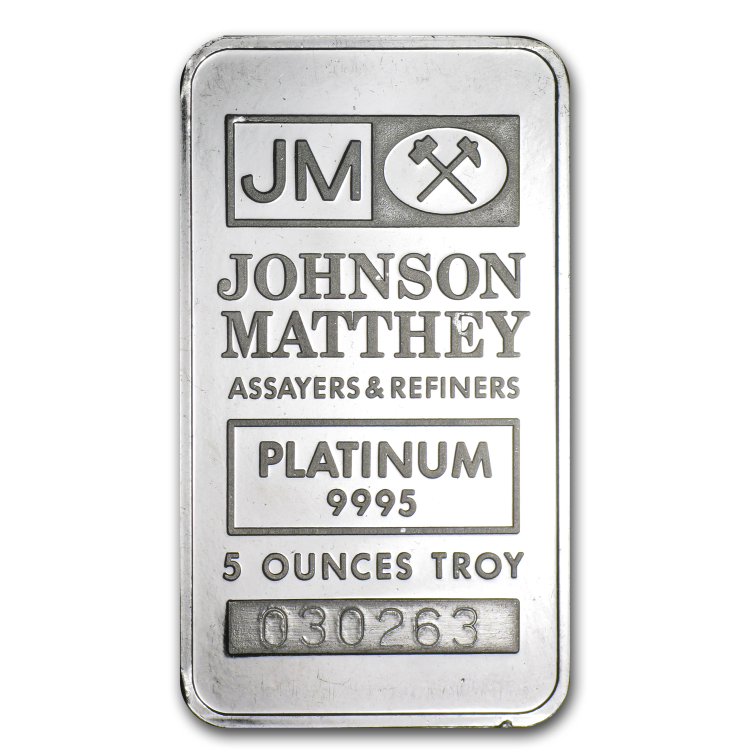 5 oz Platinum Bar - Johnson Matthey (.9995 Fine)