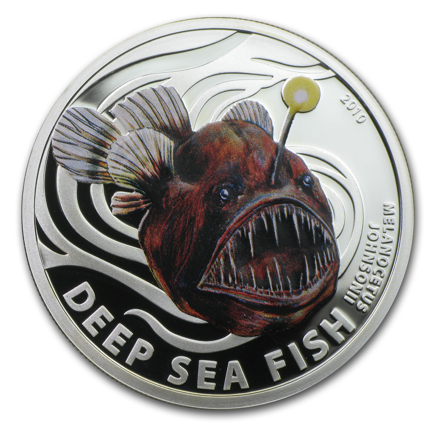 2010 Pitcairn Islands Silver Deep Sea Fish Melanocetus Johnsonii