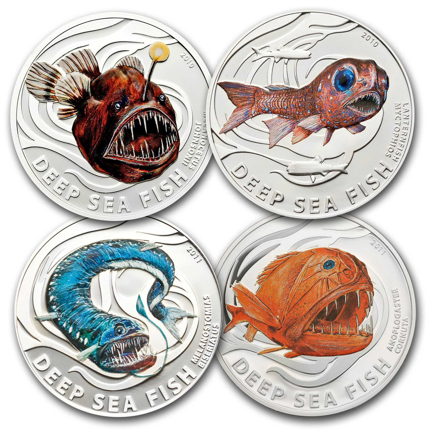2010-2011 Pitcairn Islands 4-Coin Silver Deep Sea Fish Proof Set