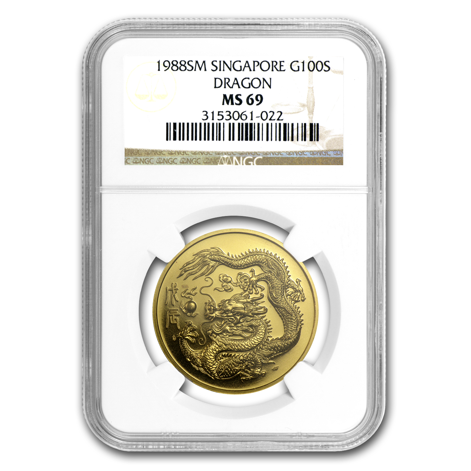 1988 Singapore 1 oz Gold 100 Singold Dragon MS-69 NGC