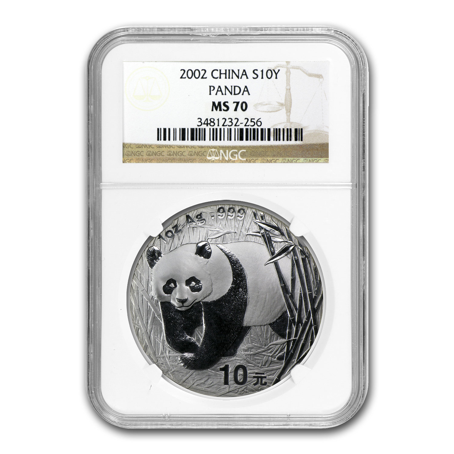 2002 Silver Chinese Panda 1 oz - MS-70 NGC
