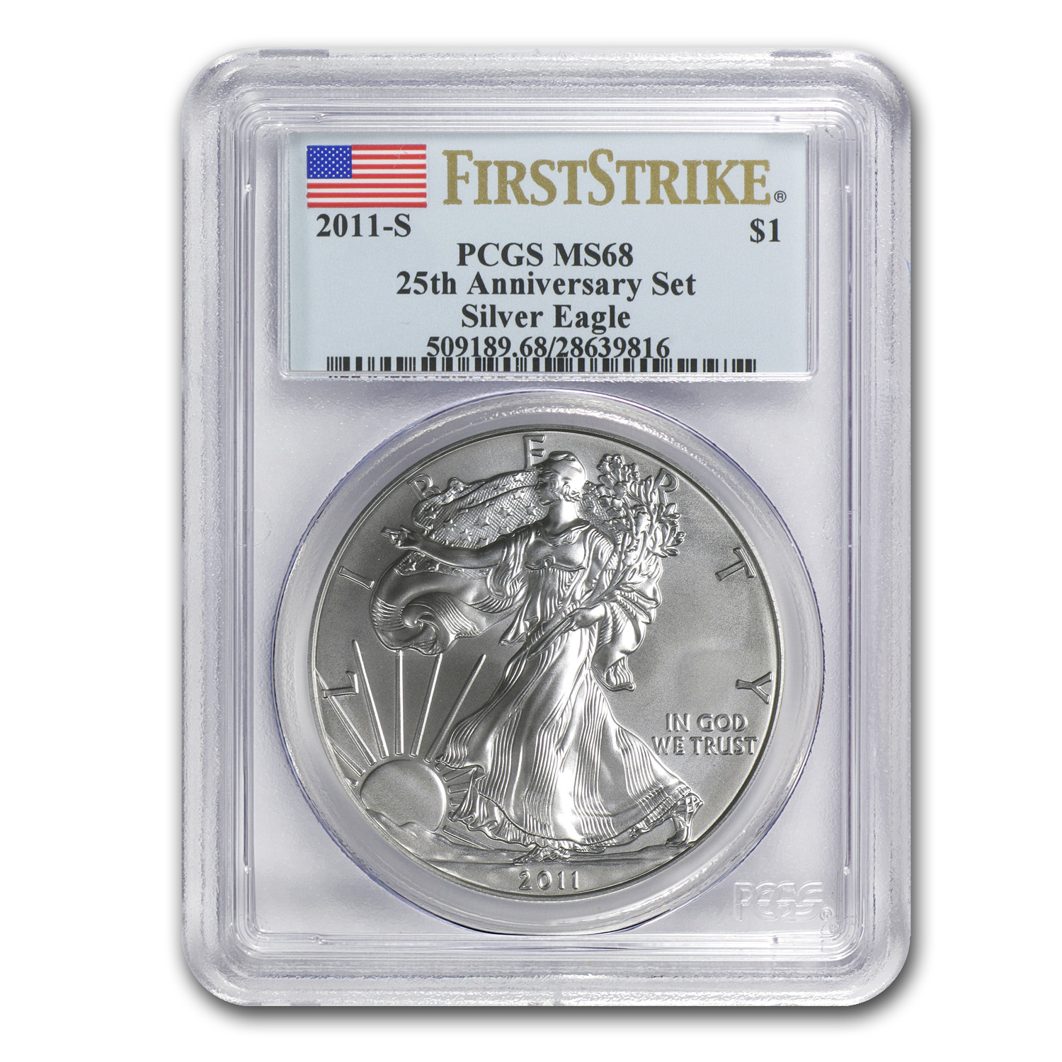 2011-S Silver Eagle MS-68 PCGS (FS, 25th Anniv, Blue Label)